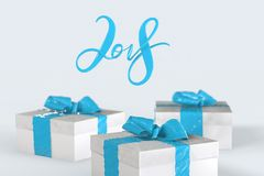 2018 Christmas New Year lettering with colorful gift boxes with bows of ribbons and golden christmas tree on the white background. 3d illustration Stock Photos