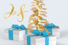 2018 Christmas New Year lettering with colorful gift boxes with bows of ribbons and golden christmas tree on the white background. 3d illustration Stock Image