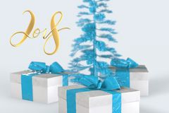 2018 Christmas New Year lettering with colorful gift boxes with bows of ribbons and golden christmas tree on the white background. 3d illustration Royalty Free Stock Image
