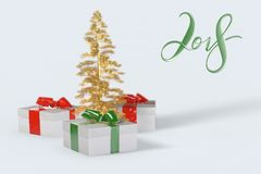 2018 Christmas New Year lettering with colorful gift boxes with bows of ribbons and golden christmas tree on the white background. Stock Image