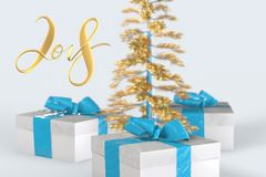 2018 Christmas New Year lettering with colorful gift boxes with bows of ribbons and golden christmas tree on the white background. 3d illustration Stock Images