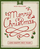 Christmas and New Year lettering poster. Royalty Free Stock Photos