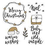 Christmas and New Year lettering set. Hand lettered quotes for greeting cards, gift tags. Typography collection. Vector. Christmas and New Year lettering set Stock Image