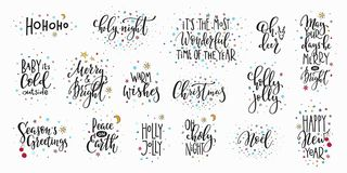 Christmas new year lettering typography set royalty free illustration