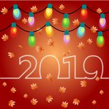 Christmas and new year 2019 with light bulb stock illustration