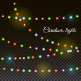 Christmas and New year light garland. On a transpared background, vector illustration Stock Photo