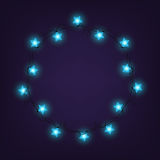 Christmas and New year light garlands like frame on a blue background, . Star lights.  Royalty Free Stock Photography