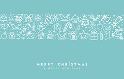 Christmas and new year line art icon greeting card Royalty Free Stock Photos