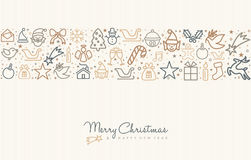 Christmas and new year line art icon greeting card. Merry Christmas and happy New Year greeting card design with holiday line art icon pattern. EPS10 vector royalty free illustration