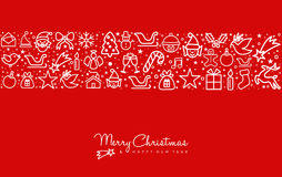 Christmas and new year line art icon greeting card. Merry Christmas and happy New Year red greeting card design with holiday line art icon pattern. EPS10 vector Royalty Free Stock Image
