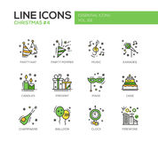 Christmas and New Year - line design icons set. Christmas and New Year - set of modern vector line design icons and pictograms. Party hat, party popper, music Royalty Free Stock Photo