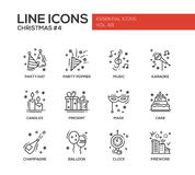 Christmas and New Year - line design icons set. Christmas and New Year - set of modern vector line design icons and pictograms. Party hat, party popper, music Stock Photo