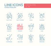 Christmas and New Year - line design icons set. Christmas and New Year - set of modern vector line design icons and pictograms. Party hat, party popper, music Stock Photography