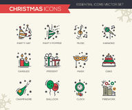 Christmas and New Year - line design icons set. Christmas and New Year - set of modern vector line design icons and pictograms. Party hat, party popper, music Royalty Free Stock Photography