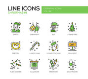 Christmas and New Year - line design icons set. Christmas and New Year - set of modern vector line design icons and pictograms. Santa, ornament, elf, x-mas tree Stock Photos