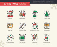 Christmas and New Year - line design icons set. Christmas and New Year - set of modern vector line design icons and pictograms. Santa, ornament, elf, x-mas tree Royalty Free Stock Photography