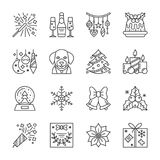 Christmas New Year line icon set editable stroke. New Year thin line icon set. Christmas linear symbol pack. Outline sign without fill. Editable stroke. Simple Royalty Free Stock Images