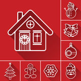 Christmas or new year line icon set. White outline vector icon with shadow on red background Stock Photography