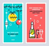 Christmas and New Year linear cards set with christmas tree branches, balls, champagne bottle and wine glasses. Vector. Royalty Free Stock Photos