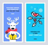 Christmas and New Year cards set with cute reindeer character giving a gift and bird sitting on a omela branch. Vector. Royalty Free Stock Photos