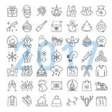 Christmas and New Year linear icons set vector illustration