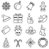 Christmas and new year linear icons. Vector set of winter holidays symbols, outline Royalty Free Stock Photography