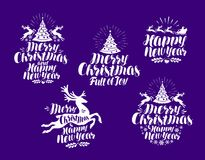 Christmas, New Year logo or label. Xmas typographic design. Lettering vector illustration. Christmas, New Year logo or label. Xmas typographic design. Lettering vector illustration