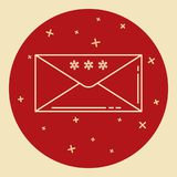 Christmas mail icon in thin line style Stock Image