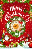 Christmas or New Year midnight clock greeting card. Christmas and New Year midnight clock with Xmas gift and wreath. Santa, snowman and present, ball, ribbon and Royalty Free Stock Photos