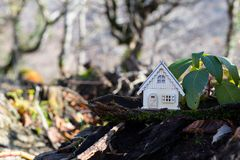 Christmas and New Year miniature house at forest in the sunlight. Little toy house close up. Festive background. Christmas. Decorations. Holiday and celebration stock photo