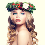 Christmas or New Year Model Woman. Cute Face, Blonde Hair Royalty Free Stock Photo