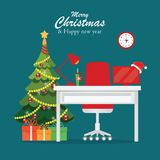 Christmas and New Year in modern office workplace interior . Christmas and New Year in modern office workplace interior with desk, laptop, Christmas tree, lamp stock illustration