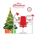 Christmas and New Year in modern office workplace interior . Christmas and New Year in modern office workplace interior with desk, laptop, Christmas tree, lamp royalty free illustration