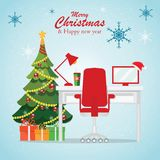 Christmas and New Year in modern office workplace interior . Christmas and New Year in modern office workplace interior with desk, laptop, Christmas tree, lamp vector illustration