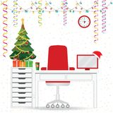 Christmas and New Year in modern office workplace interior. With desk, laptop, Christmas tree, lamp, armchair, gifts, Santa Claus heat, Colorful concept for stock illustration