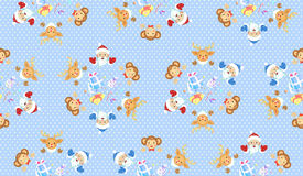 Christmas and New Year of the Monkey seamless pattern Stock Photography