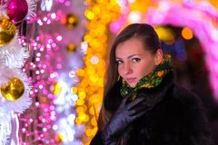 Christmas and New Year in Moscow, Russia. Stock Photos