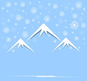 Christmas and new year with mountain and sky. Christmas and happy new year background with mountain and sky snowing Stock Photos
