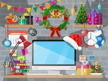 Christmas new year office desk workspace interior. Christmas or new year office desk workspace interior. Gift box, Christmas tree, computer pc, wreath books stock illustration
