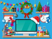 Christmas new year office desk workspace interior. Christmas or new year office desk workspace interior. Gift box, Christmas tree, computer pc, wreath books vector illustration