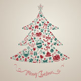 Christmas and new year ornament present decoration and object ic. On background badge template layout in Christmas tree shape used as celebration holiday card or stock illustration