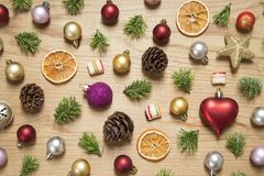 Christmas and New Year ornaments royalty free stock images