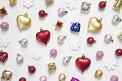 Christmas and New Year ornaments. Various Christmas and New Year ornaments background royalty free stock photos