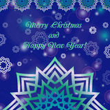 Christmas and New Year ornate cards with holiday symbol star on winter background in modern style. Dark blue color. Royalty Free Stock Photos