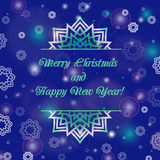 Christmas and New Year ornate cards with holiday symbol star on winter background in modern style. Dark blue color. Stock Images