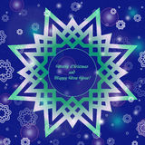 Christmas and New Year ornate cards with holiday symbol star on winter background in modern style. Dark blue color. Royalty Free Stock Photo