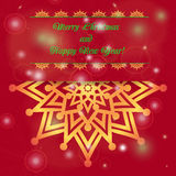 Christmas and New Year ornate cards with holiday symbol star on winter background in modern style. Royalty Free Stock Photography