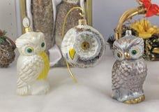 Christmas New Year owl decor Royalty Free Stock Photo