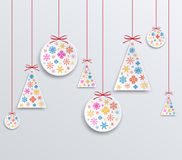 Christmas and New Year paper applique of snowflakes. Royalty Free Stock Image