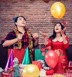 Christmas and new year party. With friends Royalty Free Stock Photo